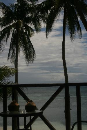 Anda White Beach Resort: view from the bed (deluxe beach front room)