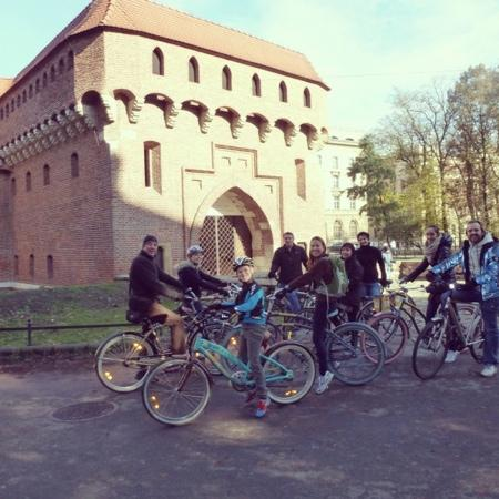 Krakow Bike Tour: outside the barbican