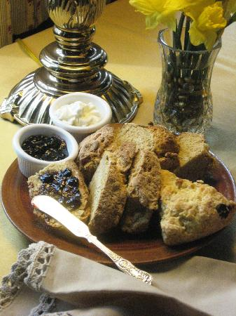 The Centennial House Bed and Breakfast: Fresh baked scones and jam--baked goods are the second course at Centennial House