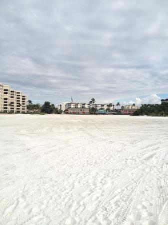 Wyndham Garden Fort Myers Beach: Hotellet sett från stranden (de låga byggnaderna med flaggan)