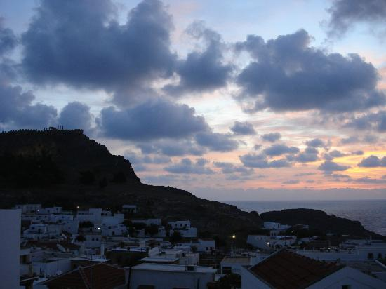 Xenones Lindos: Sunrise over Lindos from balcony of room A5