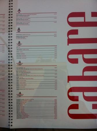 يوركميز هوتل: cabare restaurant menu