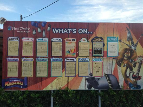Holiday Village Rhodes: Weekly activity board - always up to date!