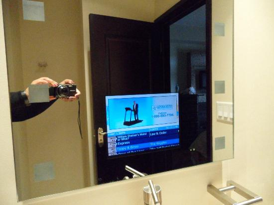 tv in bathroom. copper point resort: tv in the bathroom mirror tv