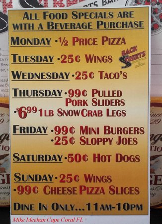 Daily specials menu - Picture of BackStreets Sports Bar, Cape ...