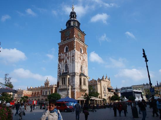 Historic Centre of Kraków: Grodzka (City) Tower in the middle of Market Square