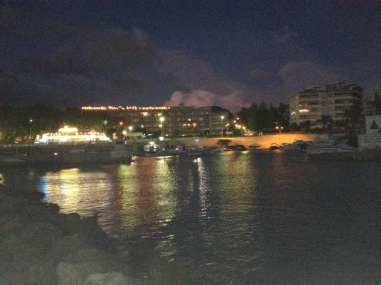Hotel Ibersol Son Caliu Mar: palma nova at night from harbour 