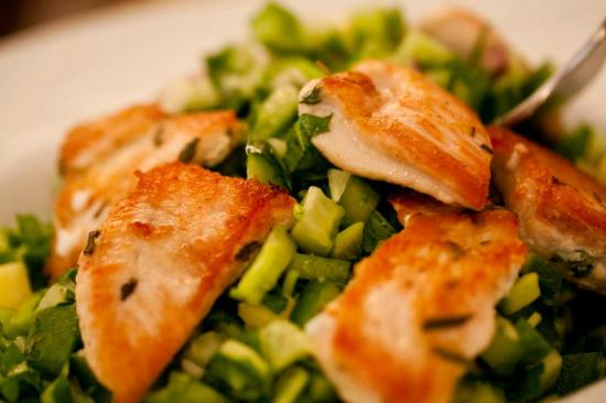 Orna & Ella : Cucumber, mango, broadbeans, onions and chicken salad