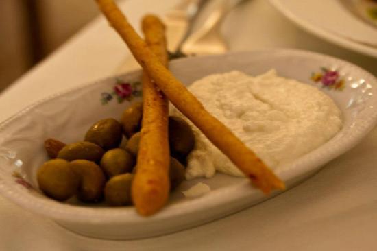 Orna & Ella: olives, breadsticks and macademia nut spread
