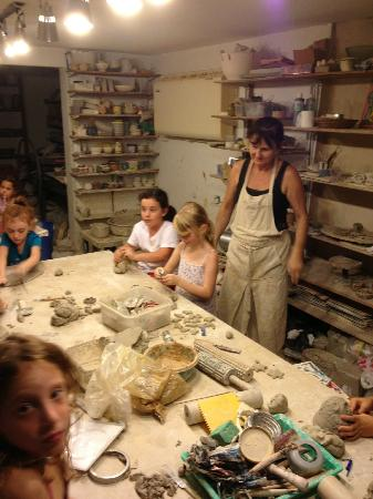 Sea Wind in Mikhmoret: Children enjoying pottery class
