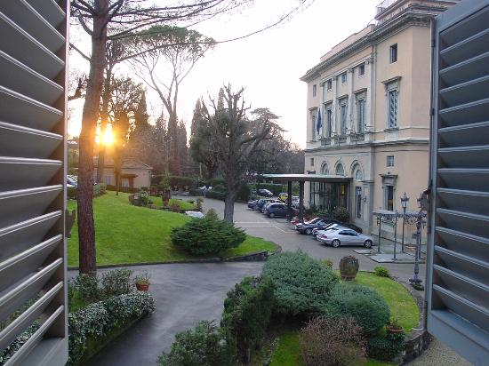 view from our room in the adjoining building of the entrance of Villa Cora