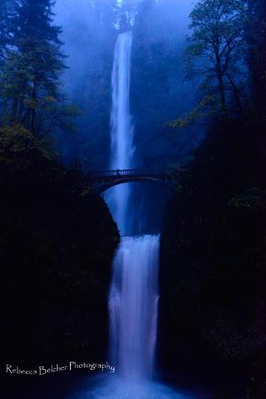 Bridal Veil, OR : Multnomah Falls at Night - October 2012