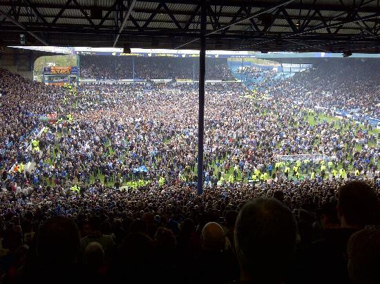 Hillsborough Stadium: More than 38,000 Sheffield Wednesday fans celebrate after promotion to the Championship.
