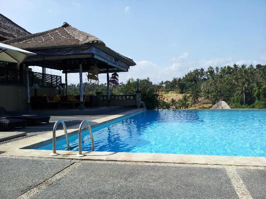 Bali Masari Villas & Spa: View across infinity pool to hillside opposite