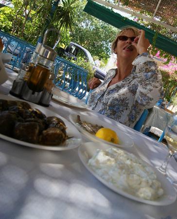 Nefeli Apartments: Viv Sampling the Fare at Vathys