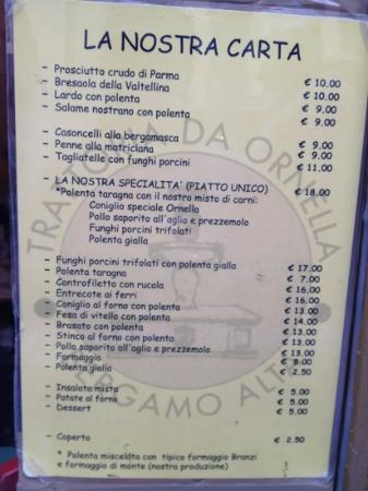 Trattoria da Ornella: il menù di oggi