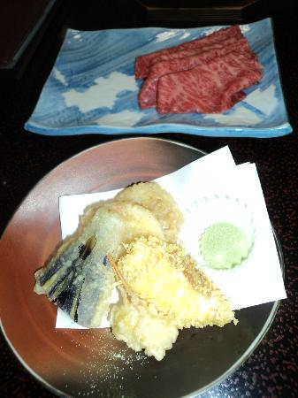 Okunobo: Kobe beef and tempura