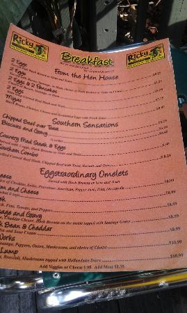 Ricky T's: Breakfast menu.  You've gotta try the Eggs Benedict.