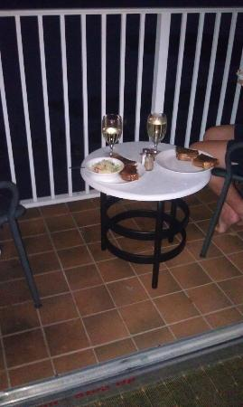 Bilmar Beach Resort: Dinner one night on the balcony.  Handy to have the kitchenette