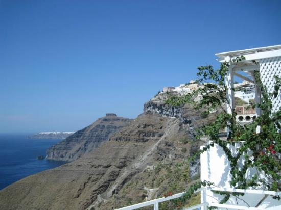 Porto Fira Suites: Looking from our patio to the north-west