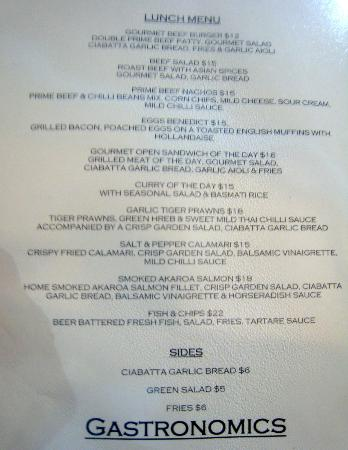 gastronomics : lunch menu