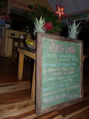 Pura Gula: Everything on Chalkboard menu is 8000 colones