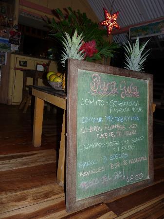 Pura Gula : Everything on Chalkboard menu is 8000 colones