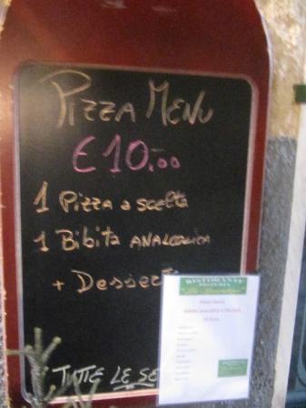 ristorante pizzeria lo spuntino pizza menù del giorno