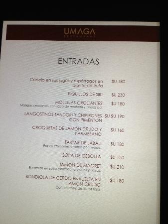 Umaga Restaurant: Las entradas espectaculares