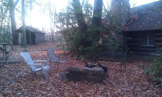 Leber's Log Cabins: Outside firepit