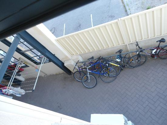 Perth City YHA: View from 105 - courtyard below for securing bikes, drying washing