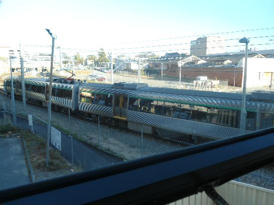 Perth City YHA: View from 105 with passing train