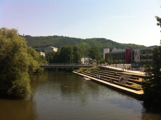 Marburg, Australia: the river Lahn and the student canteen