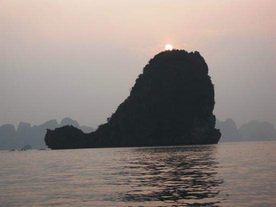 A25 Hotel: Whale-shaped Islet during sunset at Halong Bay