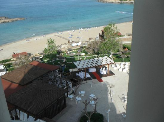 Capo Bay Hotel: View from top floor corridor of Koi bar and wedding area