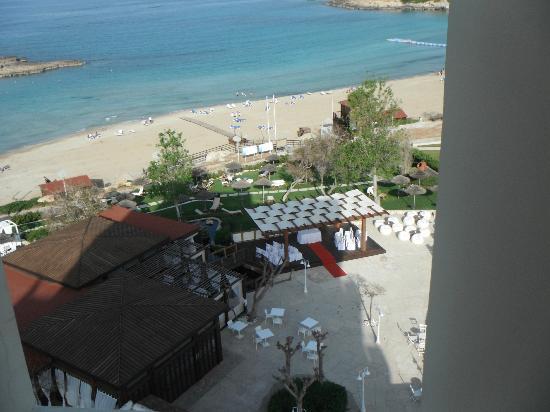 Capo Bay Hotel: View from top floor corridor of Koi bar and wedding area 