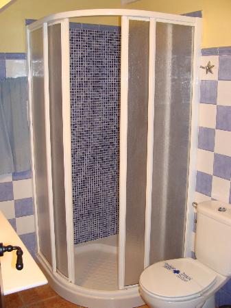 Posada el Camino: Pequeño baño con ducha.