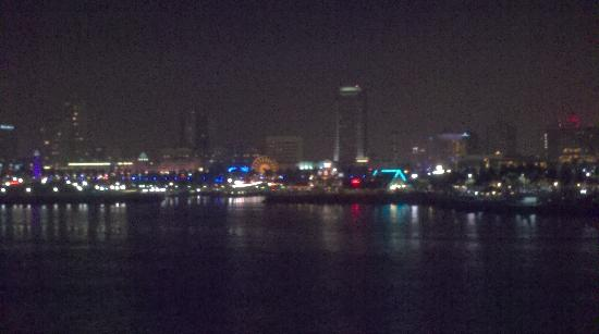 nighttime view of Long Beach from the Queen Mary