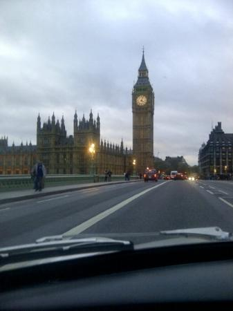 Small Car BIG CITY: driving over westminster bridge