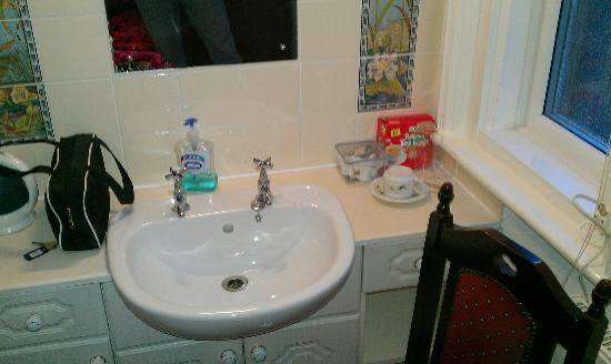 Ash Hotel: sink in room with supplied cheap teabags