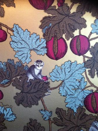 Beechfield House: Monkey wallpaper in one of the dining rooms