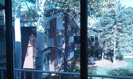 Little America Hotel Flagstaff: View from the room/balcony of rear of hotel and grounds.