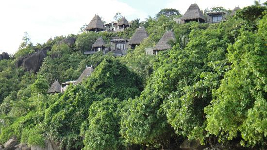 MAIA Luxury Resort & Spa : view from beach up