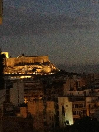 Acropolis Ami Boutique Hotel: View of the Acropolis at dusk, as seen from our balcony
