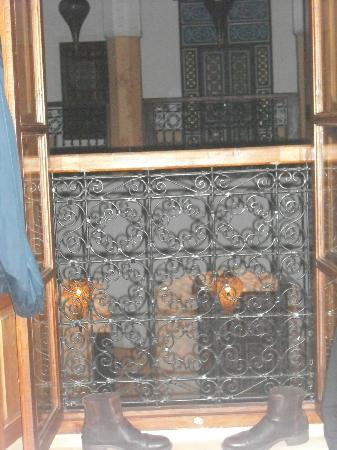 Riad Al-Bushra: View of blue room balcony