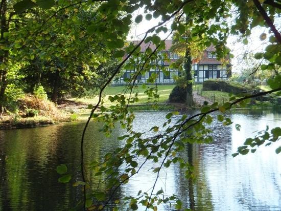 Kasteelhof 't  Hooghe: Het hotel vanuit de tuin met vijver en WW1 overblijfselen.