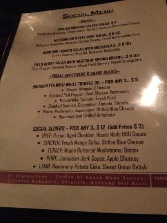 menu from Social Resto Lounge