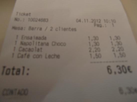Hotel SB Express Tarragona: Ticket del desayuno