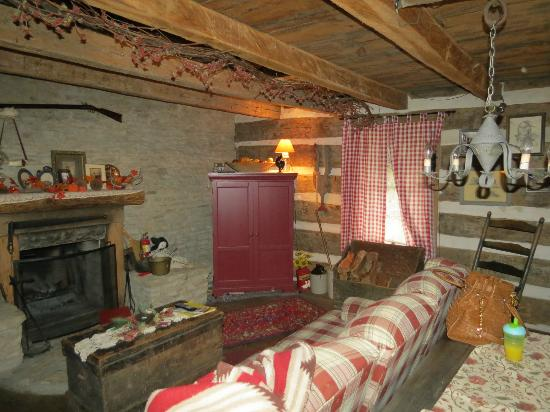 Country Road Bed and Breakfast: Log Cabin Living Area