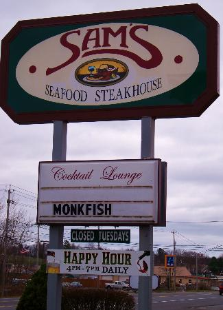 Sam's Steak and Seafood: Sign in front